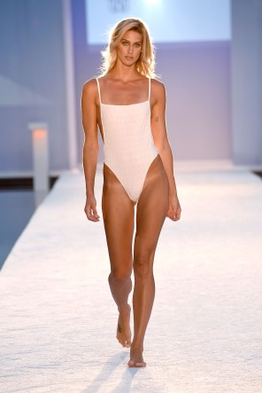 MIAMI BEACH, FL - JULY 15: A model walks the runway at Hammock 2017 Collection at SwimMiami at W South Beach on July 15, 2016 in Miami Beach, Florida. (Photo by Frazer Harrison/Getty Images for Hammock)