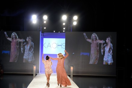 MIAMI BEACH, FL - JULY 15: Designers Tess Hamilton and Ali Hoffmann walk the runway during the finale at the KAOHS 2017 Collection at SwimMiami - Runway at W South Beach on July 15, 2016 in Miami Beach, Florida. (Photo by Frazer Harrison/Getty Images for KAOHS)