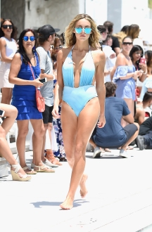 MIAMI BEACH, FL - JULY 16: A model walks the runway at the Revel Rey 2017 Collection at SwimMiami - Runway at W South Beach on July 16, 2016 in Miami Beach, Florida. (Photo by Frazer Harrison/Getty Images for Revel Rey)