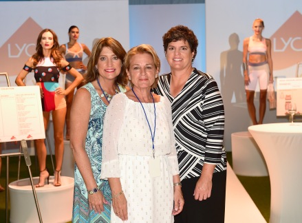 MIAMI BEACH, FL - JULY 16: Pattie Ficorilli, Dianne Lober and Michelle Schlegel pose at the Lycra Moves Swim Cocktail Event at SwimMiami - Runway at W South Beach on July 16, 2016 in Miami Beach, Florida. (Photo by Gustavo Caballero/Getty Images for LYCRA)