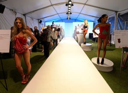 MIAMI BEACH, FL - JULY 16: Models pose at the Lycra Moves Swim Cocktail Event at SwimMiami - Runway at W South Beach on July 16, 2016 in Miami Beach, Florida. (Photo by Gustavo Caballero/Getty Images for LYCRA)
