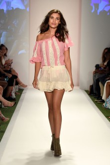 MIAMI BEACH, FL - JULY 16: A model walks the runway at Beach Freedom 2017 Collection at SwimMiami at W South Beach on July 16, 2016 in Miami Beach, Florida. (Photo by Frazer Harrison/Getty Images for Beach Freedom)
