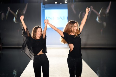 MIAMI BEACH, FL - JULY 16: Designers Janelle Gauthier and Libby DeSantis walk the runway at the INDAH Clothing Presents Casa INDAH at SwimMiami - Runway at W South Beach on July 16, 2016 in Miami Beach, Florida. (Photo by Frazer Harrison/Getty Images for INDAH)
