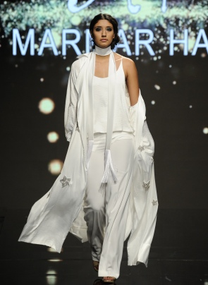 LOS ANGELES, CA - OCTOBER 09: A model walks the runway wearing Marmar Halim at Art Hearts Fashion Los Angeles Fashion Week presented by AIDS Healthcare Foundation on October 9, 2016 in Los Angeles, California. (Photo by Arun Nevader/Getty Images for Art Hearts Fashion)