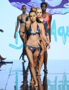 LOS ANGELES, CA - OCTOBER 09: Models walk the runway wearing Du Aqua Swim at Art Hearts Fashion Los Angeles Fashion Week presented by AIDS Healthcare Foundation on October 9, 2016 in Los Angeles, California. (Photo by Arun Nevader/Getty Images for Art Hearts Fashion)