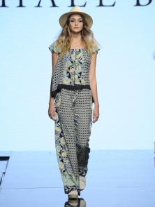 LOS ANGELES, CA - OCTOBER 10: A model walks the runway wearing Hale Bob at Art Hearts Fashion Los Angeles Fashion Week presented by AIDS Healthcare Foundation on October 10, 2016 in Los Angeles, California. (Photo by Arun Nevader/Getty Images for Art Hearts Fashion)