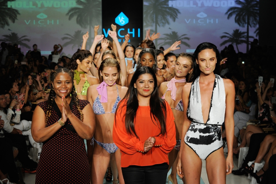 MIAMI, FL - JULY 20: Designer Moni Dep walks the runway with models during Best Talent Group Presents VICHI At Miami Swim Week Art Hearts Fashion at FUNKSHION Tent on July 20, 2017 in Miami, Florida. (Photo by Arun Nevader/Getty Images for Art Hearts)