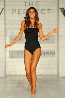 "MIAMI BEACH, FL - JULY 22: A model walks the runway wearing the designer brand ""North"" at the SCANDINAVIAN CHIC fashion show presented by The PERFECT V during FUNKSHION Swim Fashion Week at Nautilus Hotel on July 22, 2017 in Miami Beach, Florida. (Photo by Serg Alexander/Getty Images for FUNKSHION Swim Fashion Week)"