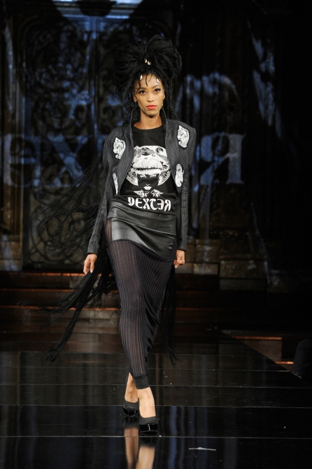NEW YORK, NY - SEPTEMBER 07: A model walks the runway for Dexter Simmons Fashion Show at Art Hearts Fashion SS/18 at The Angel Orensanz Foundation on September 7, 2017 in New York City. (Photo by Arun Nevader/Getty Images for Art Hearts Fashion)