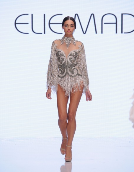 LOS ANGELES, CA - OCTOBER 05: A model walks the runway wearing Elie Madi at Los Angeles Fashion Week SS18 Art Hearts Fashion LAFW on October 5, 2017 in Los Angeles, California. (Photo by Arun Nevader/Getty Images for Art Hearts Fashion)
