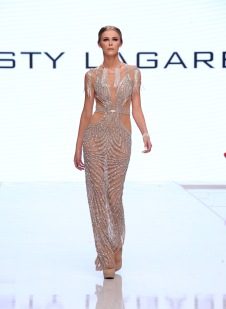 LOS ANGELES, CA - OCTOBER 05: A model walks the runway wearing Resty Lagare at Los Angeles Fashion Week SS18 Art Hearts Fashion LAFW on October 5, 2017 in Los Angeles, California. (Photo by Arun Nevader/Getty Images)