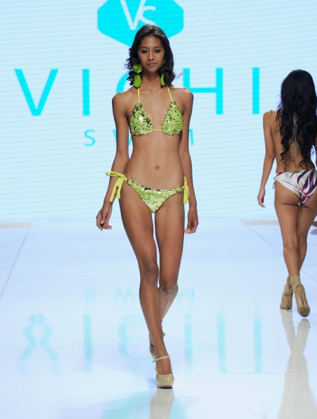 LOS ANGELES, CA - OCTOBER 07: A model walks the runway wearing Vichi Swim at Los Angeles Fashion Week SS18 Art Hearts Fashion LAFW on October 7, 2017 in Los Angeles, California. (Photo by Arun Nevader/Getty Images for Art Hearts Fashion)